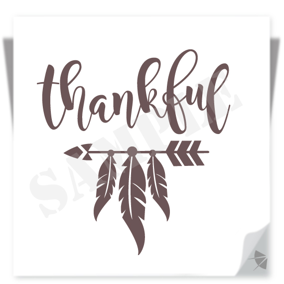 Thankful With Arrow And Feathers Svg