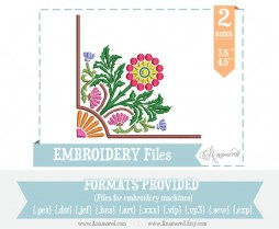 Floral Corner Embroidery Design Pattern