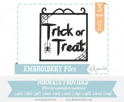 Trick or Treat Embroidery Design File